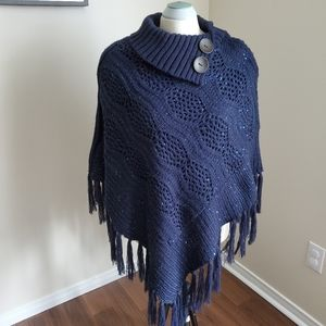 Blue Knit Fringed Shawl Cape